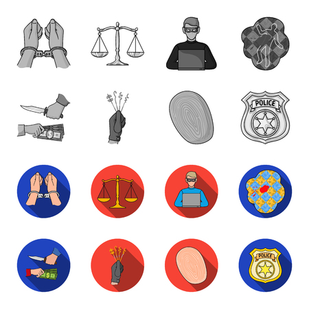 Robbery attack, fingerprint, police officer badge, pickpockets.Crime set collection icons in monochrome,flat style vector symbol stock illustration . 矢量图像