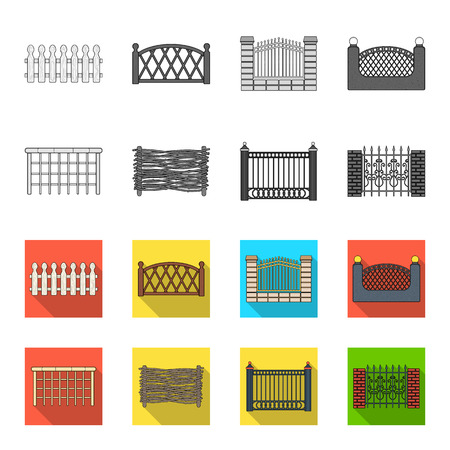 A fence of metal and bricks,wooden palisade. A different fence set collection icons in monochrome,flat style vector symbol stock illustration web.