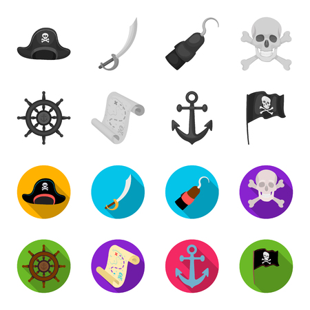 Pirate, bandit, rudder, flag .Pirates set collection icons in monochrome,flat style vector symbol stock illustration web. Illustration