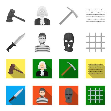 Knife, prisoner, mask on face, steel grille. Prison set collection icons in monochrome,flat style vector symbol stock illustration web.