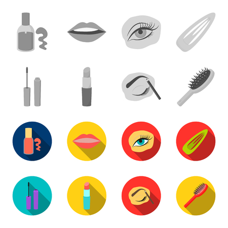 Mascara, hairbrush, lipstick, eyebrow pencil,Makeup set collection icons in monochrome,flat style vector symbol stock illustration web. Illusztráció