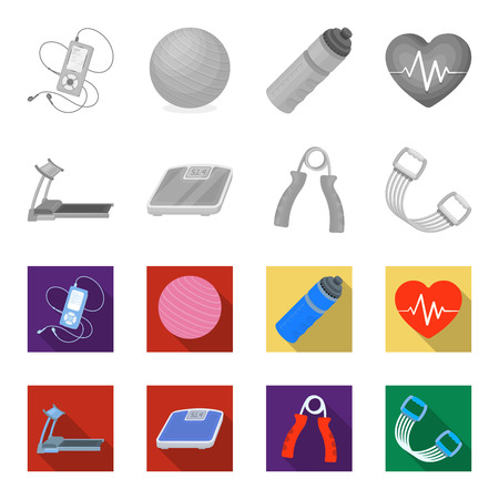 Treadmill, scales, expander and other equipment for training.Gym and workout set collection icons in monochrome,flat style vector symbol stock illustration .