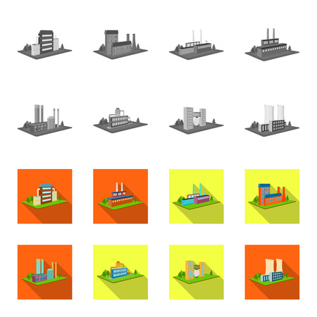 Processing factory,metallurgical plant. Factory and industry set collection icons in monochrome,flat style isometric vector symbol stock illustration .