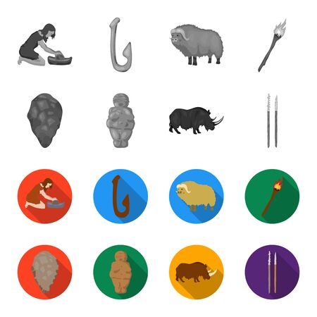 Primitive, woman, man, cattle .Stone age set collection icons in monochrome,flat style vector symbol stock illustration web. Stock Illustratie