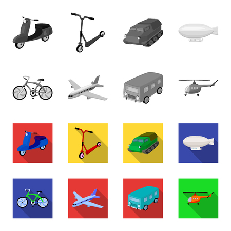 Bicycle, airplane, bus, helicopter types of transport. Transport set collection icons in monochrome,flat style vector symbol stock illustration . Archivio Fotografico - 99574678