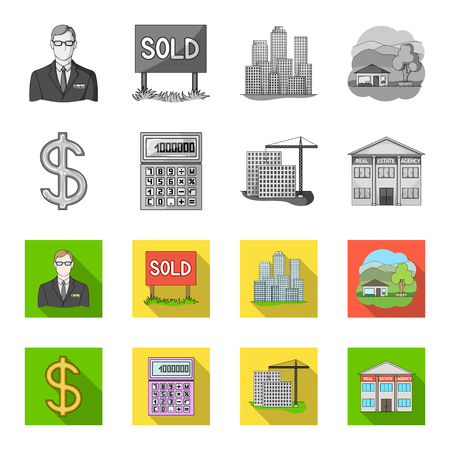 Calculator, dollar sign, new building, real estate offices. Realtor set collection icons in monochrome,flat style vector symbol stock illustration .