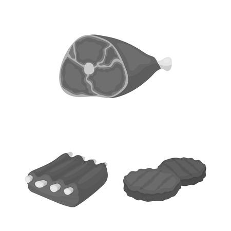 Verschillende vlees zwart-wit pictogrammen in vastgestelde inzameling voor ontwerp. Vleesproduct vector symbool stock web illustratie.
