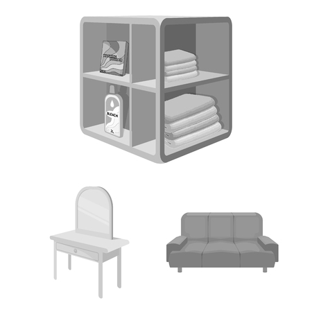 Furniture and interior monochrome icons in set collection for design. Home furnishings vector isometric symbol stock web illustration. Stock Illustratie