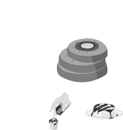 Dessert fragrant monochrome icons web illustration. Illustration