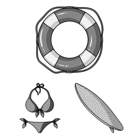 Surfing and extreme monochrome icons in set collection for design. Surfer and accessories vector symbol stock web illustration.