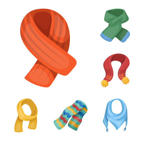 Scarf and Shawl cartoon icons in set collection for design.Clothes and Accessory vector symbol stock  illustration. Иллюстрация