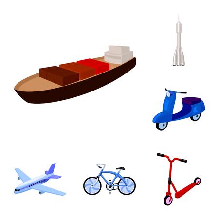 デザインのためのセットコレクション内の輸送漫画のアイコンの異なるタイプ。車と船のベクトルシンボルストックイラスト。