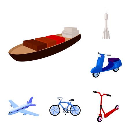 Different types of transport cartoon icons in set collection for design. Car and ship vector symbol stock  illustration.