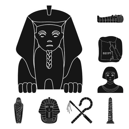 Ancient Egypt black icons in set collection for design. The reign of Pharaoh vector symbol stock  illustration. Illustration