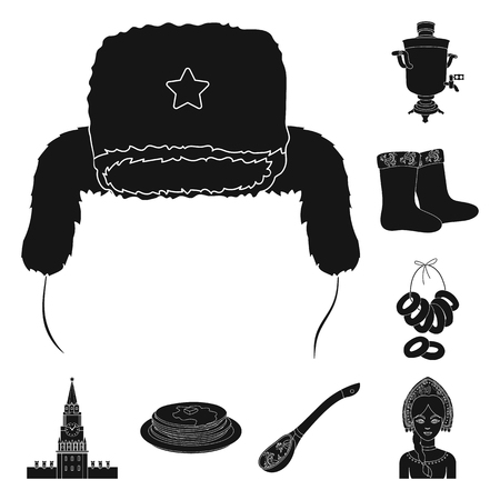Country Russia, travel black icons in set collection for design. Attractions and features vector symbol stock  illustration. Illustration