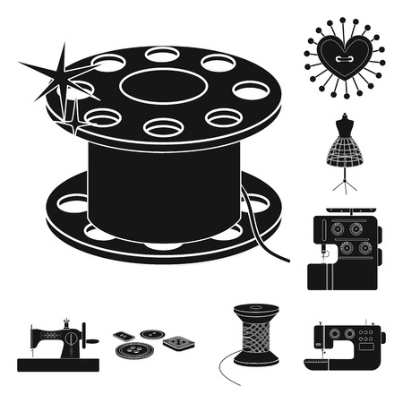 Atelier and equipment black icons in set collection for design. Sewing of outer clothing vector symbol stock  illustration. Vettoriali