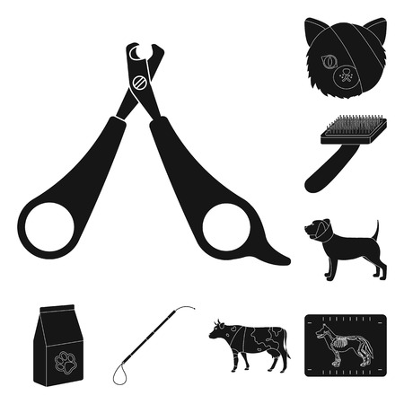 Veterinary clinic black icons in set collection for design. Treatment of a pet vector symbol stock  illustration.