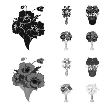 A bouquet of fresh flowers black,monochrom icons in set collection for design. Various bouquets vector symbol stock web illustration.