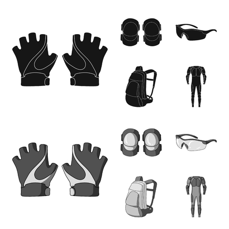 Gloves, elbow pads, goggles, cyclist backpack.Cyclist outfit set collection icons in black,monochrom style vector symbol stock illustration .
