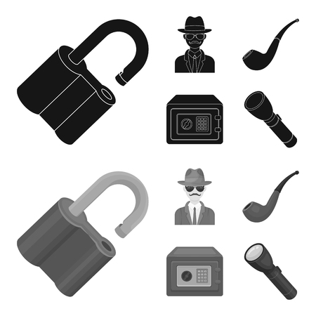 Lock hacked, safe, smoking pipe, private detective.Detective set collection icons in black,monochrom style vector symbol stock illustration .