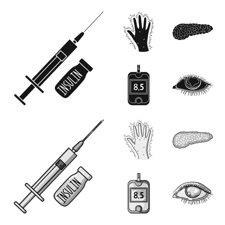 Syringe with insulin, pancreas, glucometer, hand diabetic. Diabet set collection icons in black,monochrom style vector symbol stock illustration . Stock Illustratie