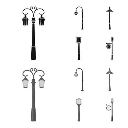 Lamppost in retro style ,modern lantern, torch and other types of streetlights. Lamppost set collection icons in black,monochrom style vector symbol stock illustration . Illustration