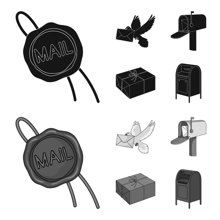 Wax seal, postal pigeon with envelope, mail box and parcel.Mail and postman set collection icons in black,monochrom style vector symbol stock illustration .