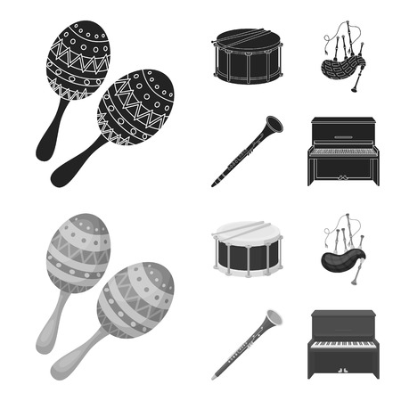 Maracas, drum, Scottish bagpipes, clarinet. Musical instruments set collection icons in black,monochrom style vector symbol stock illustration . Illustration