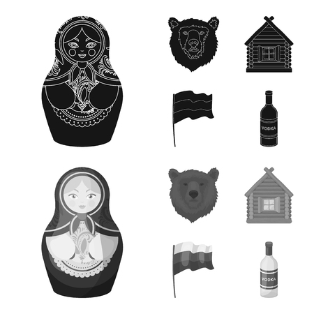 Russia, country, nation, matryoshka .Russia country set collection icons in black,monochrom style vector symbol stock illustration . Stock Illustratie