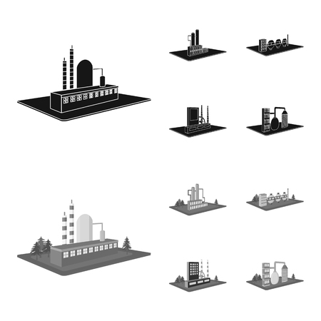 Factory and industry set collection icons in black.