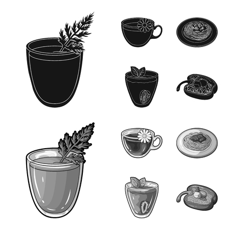 Carrot juice in a glass, chamomile tea in a cup, porridge on a plate, strawberry juice in a glass with a leaf. Vegetarian dishes set collection icons in black, monochrome style vector symbol stock illustration .  イラスト・ベクター素材