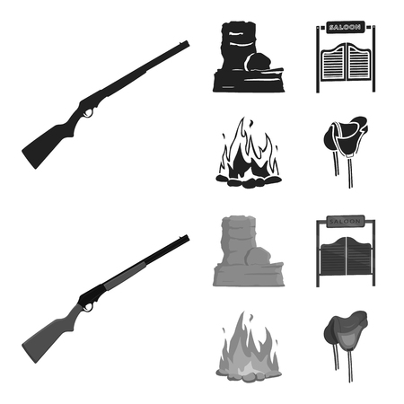 Winchester, saloon, rock, fire.Wild west set collection icons in black,monochrom style vector symbol stock illustration .