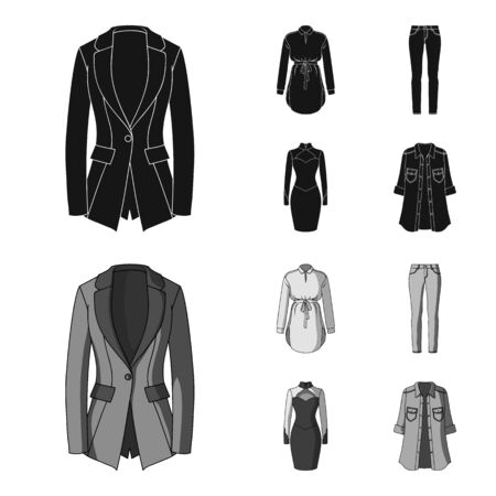 Women Clothing black,monochrom icons in set collection for design.Clothing Varieties and Accessories vector symbol stock illustration.