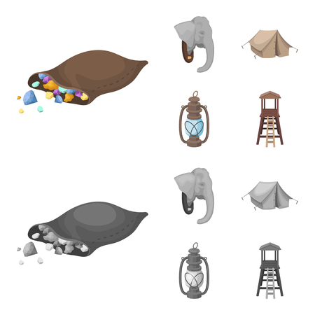 A bag of diamonds, an elephant head, a kerosene lamp, a tent. African safari set collection icons in cartoon,monochrome style vector symbol stock illustration . Illustration