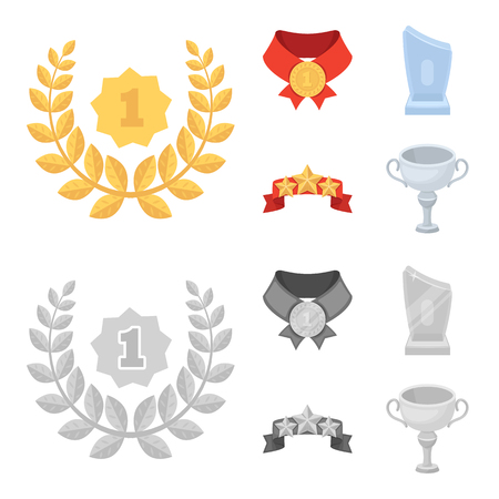 Winner for the first place in the competition, a crystal prize, a ribbon with the stars, a medal on the red ribbon.Awards and trophies set collection icons in cartoon,monochrome style vector symbol stock illustration .