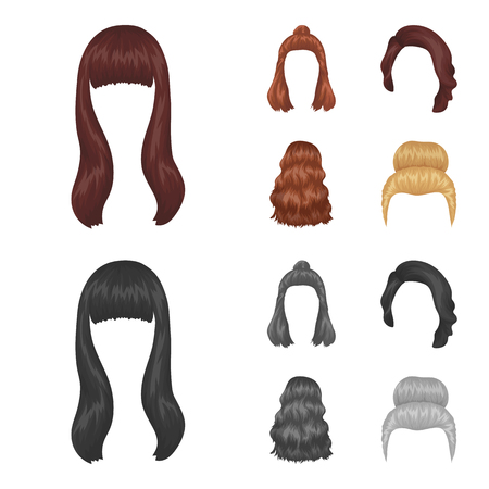 Long, red and other types of hairstyles. Back hairstyle set collection icons in cartoon,monochrome style vector symbol stock illustration .