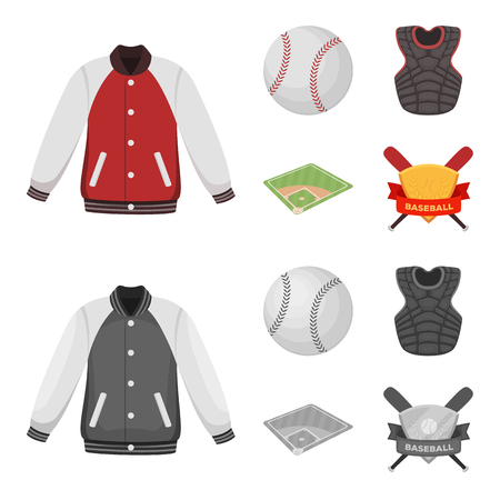 Playground, jacket, ball, protective vest. Baseball set collection icons in cartoon,monochrome style vector symbol stock illustration .