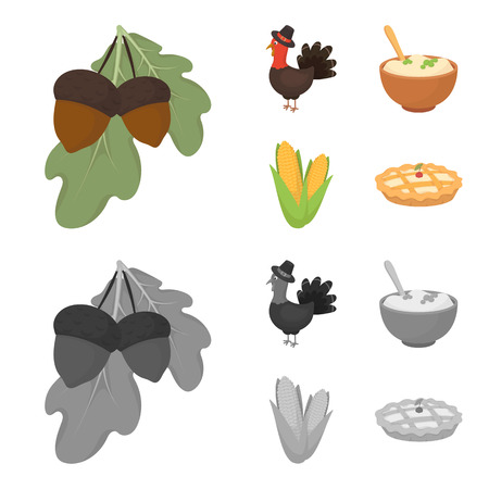 Acorns, corn puree, festive turkey, Canada thanksgiving day set collection icons in cartoon, monochrome style vector symbol stock illustration.