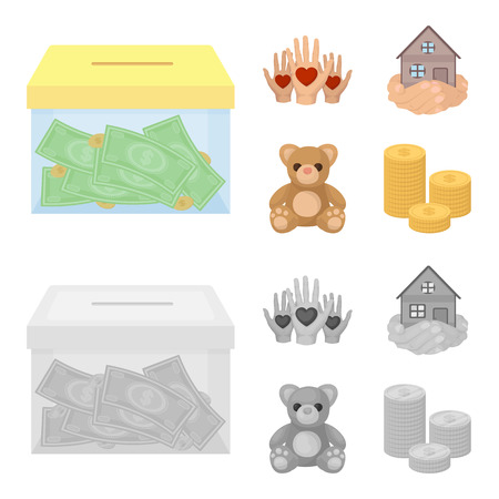 Boxing glass with donations, hands with hearts, house in hands, teddy bear for charity. Charity and donation set collection icons in cartoon,monochrome style vector symbol stock illustration .