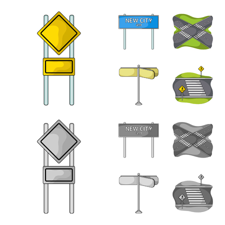 Road junctions icons in set collection Illustration