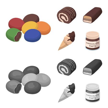 Chocolate desserts set collection icons in cartoon, monochrome style vector symbol stock illustration . Illustration