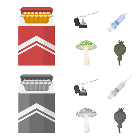 Cigarettes, a syringe, a galoyucinogenic fungus, heroin in a spoon.Drug set collection icons in cartoon,monochrome style vector symbol stock illustration web.