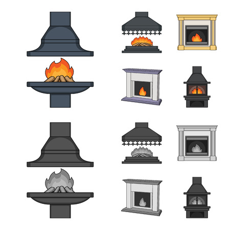 Fire, warmth and comfort.Fireplace set collection icons in cartoon,monochrome style vector symbol stock illustration .
