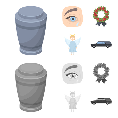 The urn with the ashes of the deceased, the tears of sorrow for the deceased at the funeral, the mourning wreath, the angel of death. Funeral ceremony set collection icons in cartoon,monochrome style vector symbol stock illustration .