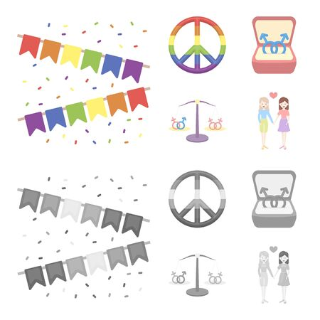 Flags, rainbow, emblem, rings. Gay set collection icons in cartoon,monochrome style vector symbol stock illustration .