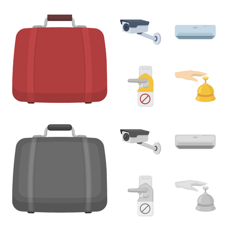 Luggage, surveillance camera, air conditioning, do not disturb the sign.Hotel set collection icons in cartoon,monochrome style vector symbol stock illustration