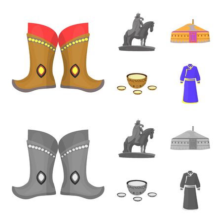 Military boots, a monument to the rider, a national tent, a milk drink. Mongolia set collection icons in cartoon,monochrome style vector symbol stock illustration . Illustration