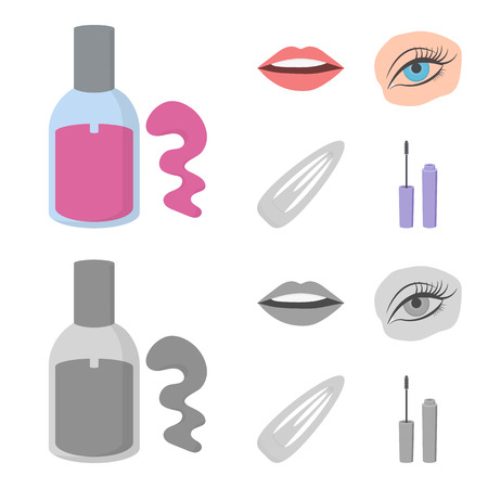 Nail polish, tinted eyelashes, lips with lipstick, hair clip.Makeup set collection icons in cartoon,monochrome style vector symbol stock illustration . Illusztráció