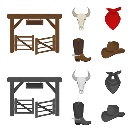 Gates, a bull skull, a scarf around his neck, boots with spurs. Rodeo set collection icons in cartoon,monochrome style vector symbol stock illustration . Illustration