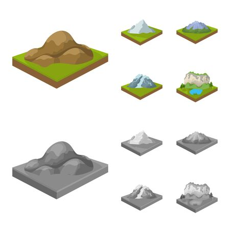 Mountains, rocks and landscape. Relief and mountains set collection icons in cartoon,monochrome style isometric vector symbol stock illustration .